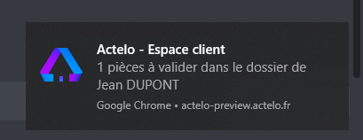 Notification native Chrome